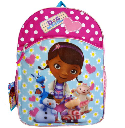Disney Doc Mcstuffins 16 Inch Large Backpack - Printed With Lambie, Stuffy, Hallie And Chilly Characters