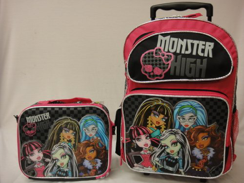 Monster High Large 16 Rolling Backpack With Lunch Bag- Pink Glitter Skull